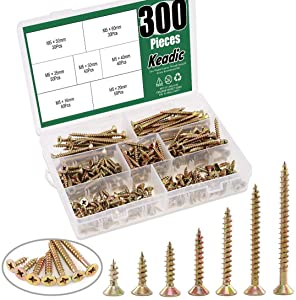 Keadic 300Pcs M5 [7 Sizes] Zinc Plated Bugle Head Drywall Screw Assortment Kit Wood Self Drilling Screws for Drywall Sheetrock Drilling Boardsand More