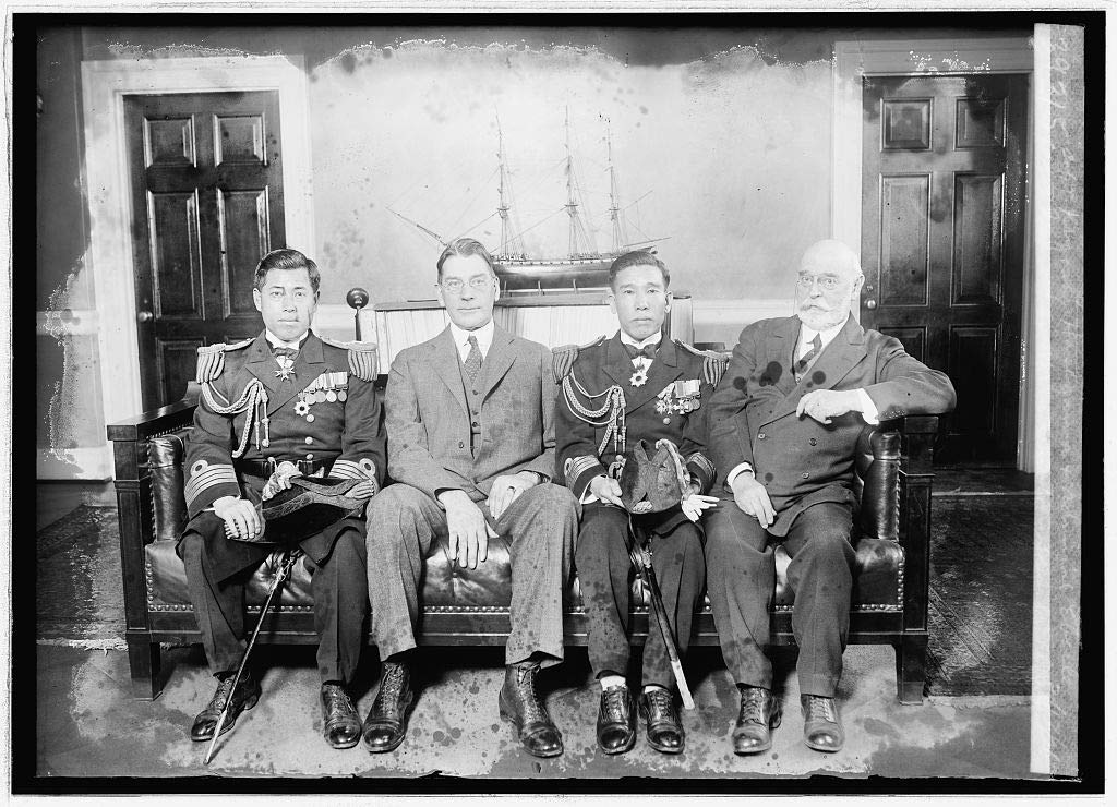 Vintography Reproduced 8 x 10 Photo of: Capt. Isoroku Yamamoto, Sec. Wilburn, Capt. Kiyoshi Hasegawa & Admiral Eberle, 2/17/26 1926 National Photo Company