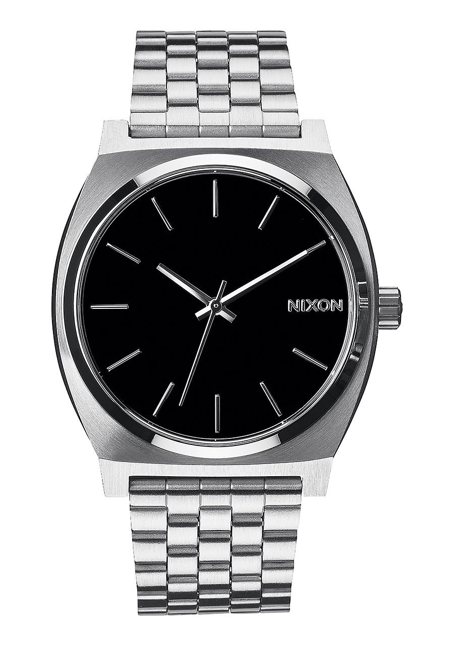 Nixon Time Teller Watch Silver Band Black Face