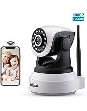 Sricam SP017 Camara ip wifi 1080p, Camara vigilancia camaras de vigilancia wifi interior camaras de seguridad con Micrófono y Altavoz, Visión Nocturna, Detección de Movimiento, para Bebé y Mascotas