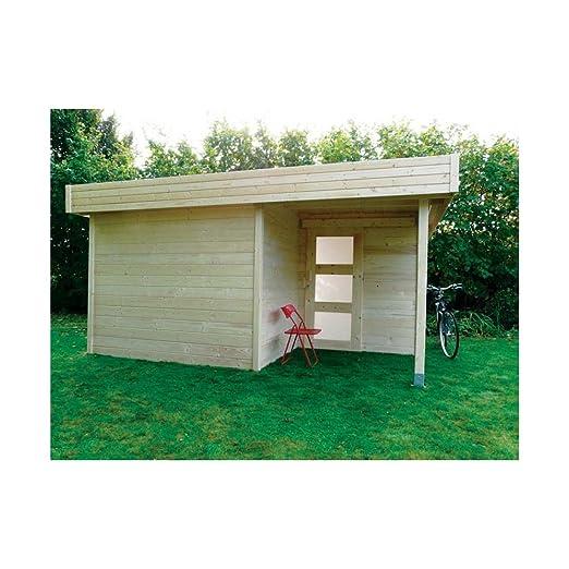 Cobertizo de madera para jardín, con techo plano Goteborg 13, 12 ...