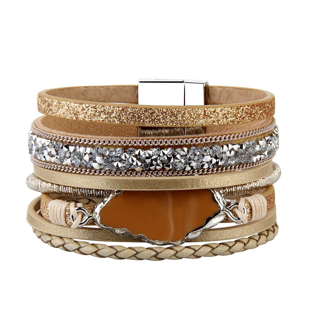 COOLLA Braided Wrap Bracelet Agate Stone Crystal Leather Cuff Bangle Women Bracelet (Beige leather bangle)
