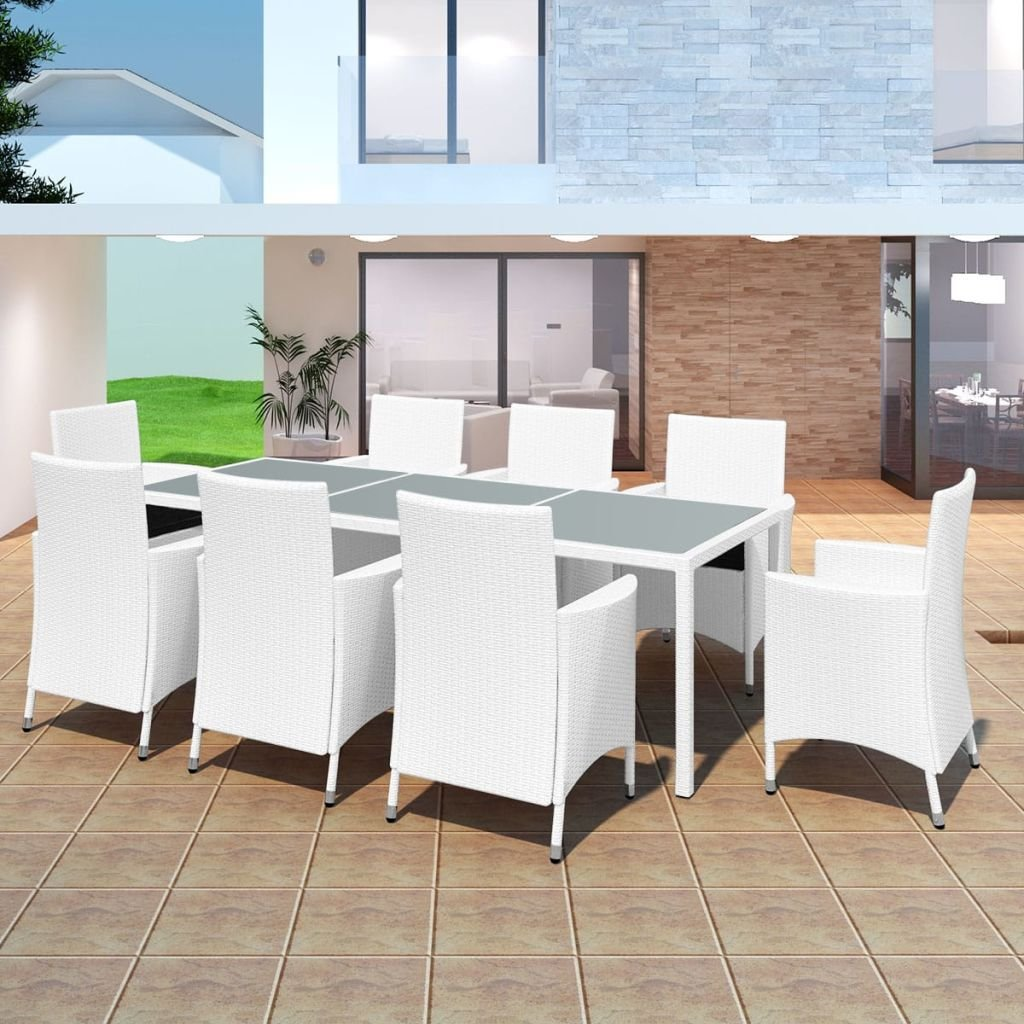 Chloe Rossetti With Cream White Cushion Outdoor Dining Set Seven Pieces Poly Rattan Brown Dining Table Chairs Sets 40'' x 23'' x 30'' (L x W x H)