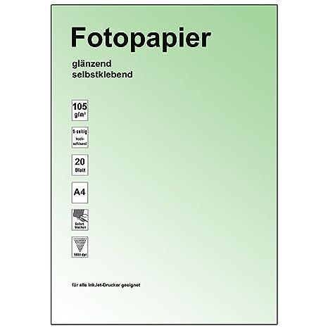 RuckZuck Druck mich - Papel para impresión (A4, satinado, adhesivo, 115 g, 20 hojas)