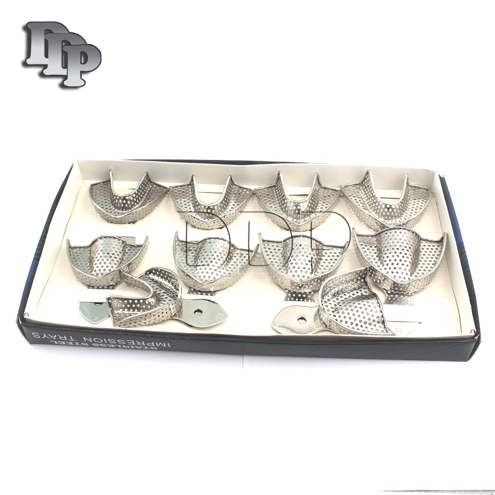 DDP 10 DENTAL IMPRESSION TRAYS SET PERFO DENTURE INSTRUMENTS
