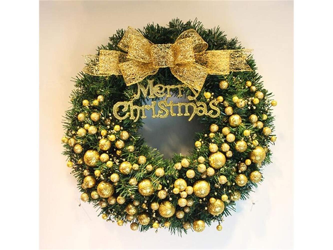 Gelaiken World Christmas Golden Ball Christmas Garland Door Hanging Ornaments Room Christmas Tree Pendants for Decoration