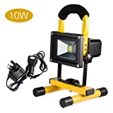 Noza Tec 10W Portable LED Floodlight, Rechargeable Work Light, Waterproof Outdoor Security Lamp, Spotlight, Emergency Lights for Garage, Job Site etc