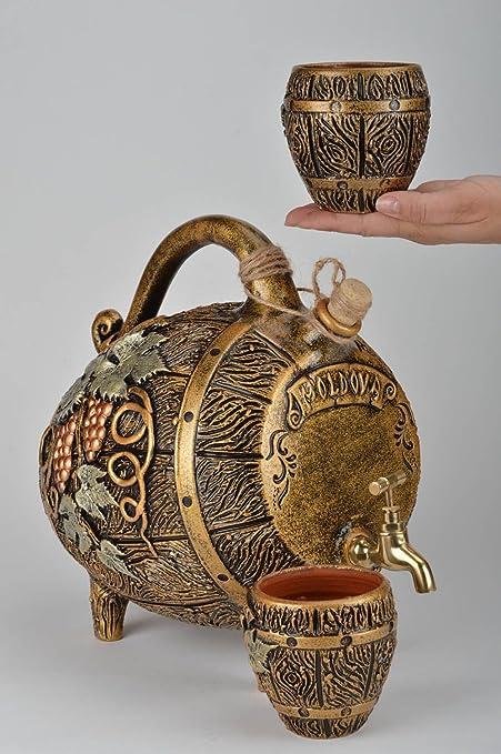 Botella Sonora barril y vasos de arcilla hechos a mano 3 piezas decoradas: Amazon.es: Hogar