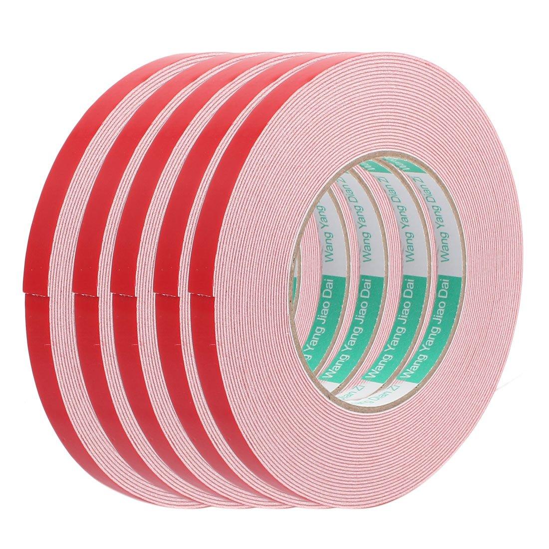 sourcing map Cinta adhesiva de espuma esponja anti choque rojo y negro de 10M 10mm x 1mm de doble cara