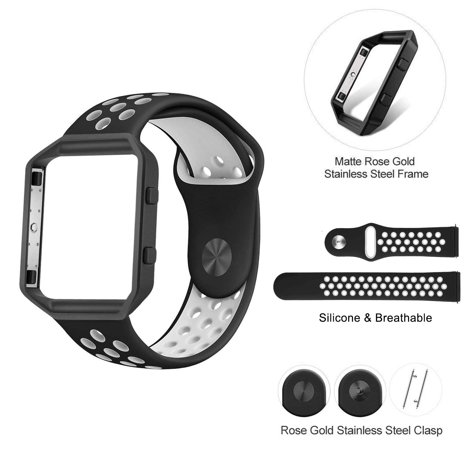 Black//White Band with Black Frame,Large:6.8-8.8 Sport Breathable Silicone Band with Frame for Fitbit Blaze Smart Fitness Tracker Large:6.8-8.8 sxd/_1512345 BBSUYOS Replacement Bands Compatible for Fitbit Blaze Bands