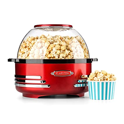 Klarstein Couchpotato • máquina de Palomitas de maíz • Retro • palomitero • Plato con Tapa de 5.2 l • Cuchara dosificadora • tecnología halógena • ...
