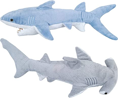 Stuffed Animal Sharks - Pack of 2 Large, 14 inch Mako & 13 inch Hammerhead Plush Shark Toys, Stuff Animals Toy, for Baby Toddlers & Kids by Bedwina