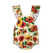 Mornbaby Baby Girl Sunflower Clothes Sleeveless Cross Back Ruffle Floral Romper Bodysuit Summer (Sunflower, 3-9months)