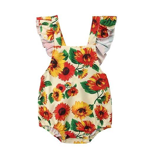 421477874 Mornbaby Baby Girl Sunflower Clothes Sleeveless Cross Back Ruffle Floral  Romper Bodysuit Summer (Sunflower,