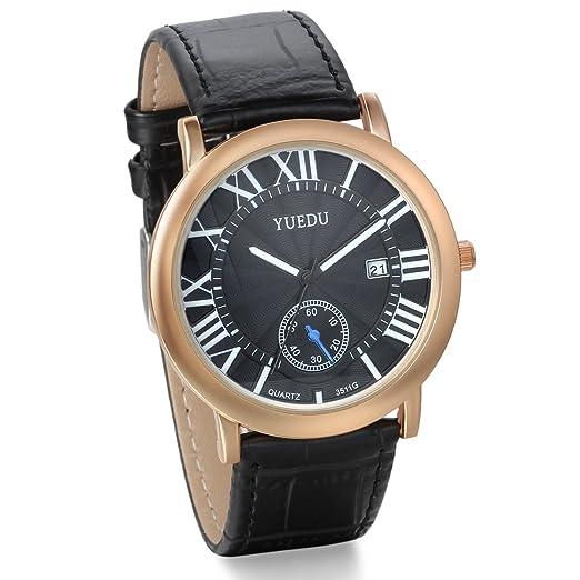 Jewelrywe reloj de cuarzo correa de cuero de los hombres negros Número Moda Display calendario romano Decoración: Amazon.es: Relojes