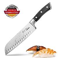 Coltello Santoku Coltello Cucina Coltelli Giapponesi Coltello Sushi 17cm Forgiata Lama Acciaio Inossidabile Manico Ergonomico Antiscivolo