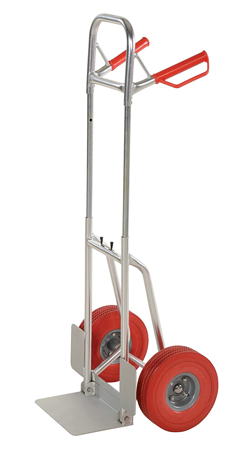 Vestil DHHT 250A FD UR Aluminum Fold Down Hand Truck with Dual Handle Red Urethane Wheels 250 lbs Load Capacity 48 3 8 Height 19 1 2 Width X 18 3 8 Depth