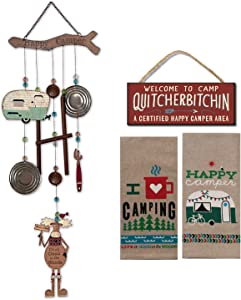 18th Street Gifts Happy Camper Decor - Wind Chime, Dish Towels and Sign - Camping Decor for Your RV, Travel Trailer or Motorhome