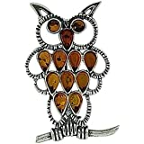 The Olivia Collection Sterling Silver Amber Brooch Cognac Amber Owl Brooch Pin
