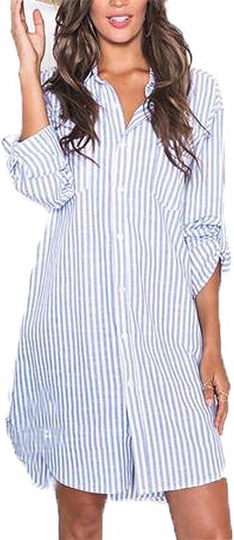 Auxo Camisas Mujer Manga Larga Tallas Grandes Camisa de Rayas Cuello V Blusa Elegante Invierno Fiesta Irregular Mini Vestido Camiseta: Amazon.es: Ropa y accesorios