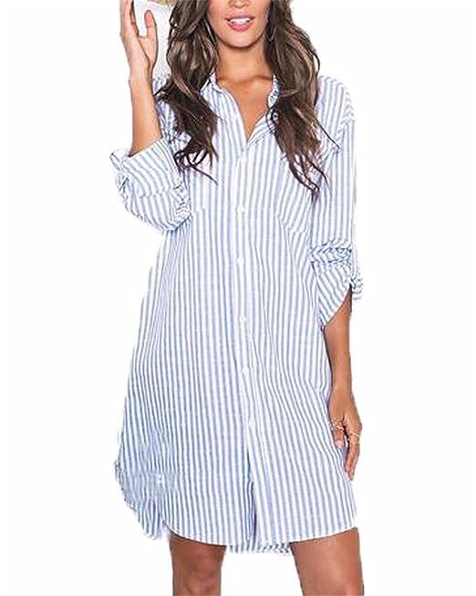 best authentic d91d6 8dea4 Auxo Blusa Lunga Donna Risvolto Camicia Cotone a Righe Vestiti Corti Solare  Maniche Lunghe