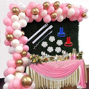 APERIL Balloons Garland Arch Kit Paquete de Globos de Oro Rosa Blanco para Niña Cumpleaños Fiesta de Despedida de Soltera Fiesta Central Pieza de ...