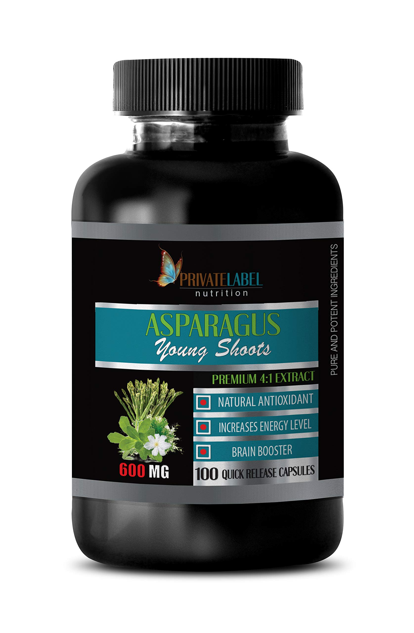 Diuretic and Anti-inflammatory Pill - Asparagus Young Shoots Premium 4:1 Extract 600 Mg - Asparagus Extract - 1 Bottle 100 Capsules