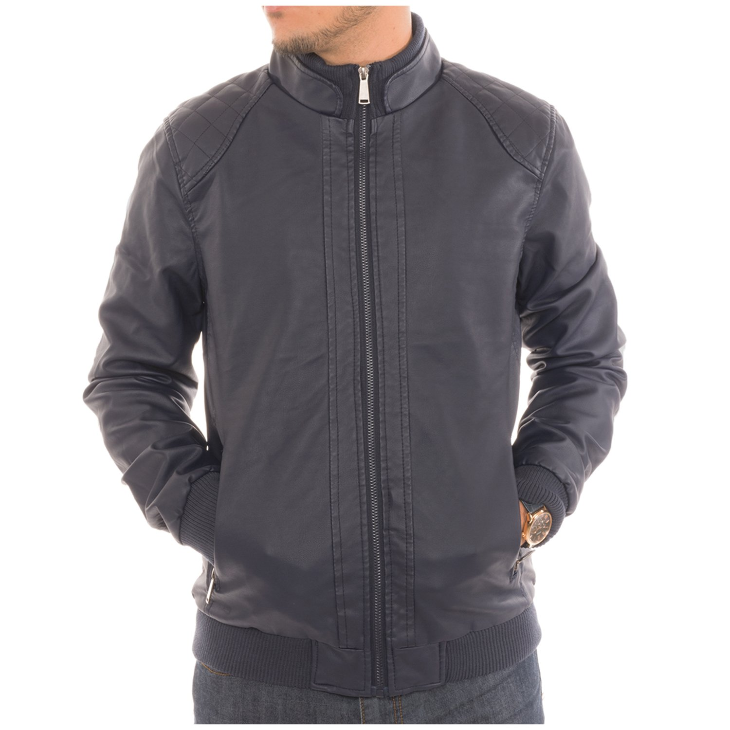 Men's Motorcycle Bomber Faux Leather Jacket Fleece Lined with Zippered Pockets - Navy - S