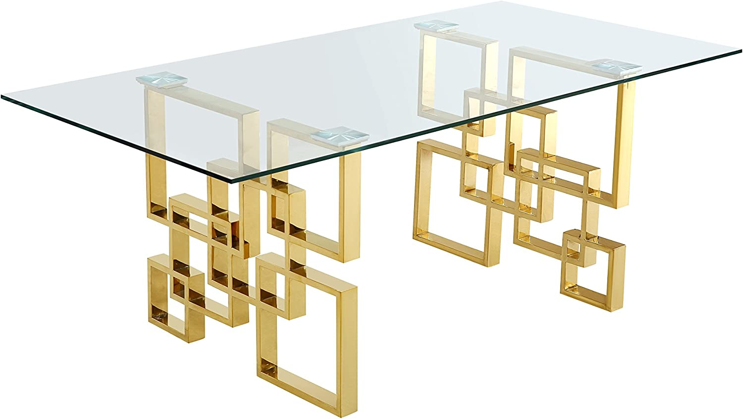 Meridian Furniture Pierre Collection Modern Contemporary Square Glass Dining Table with Stainless Steel Base and Rich Gold Finish, 78 W x 39 D x 30 H