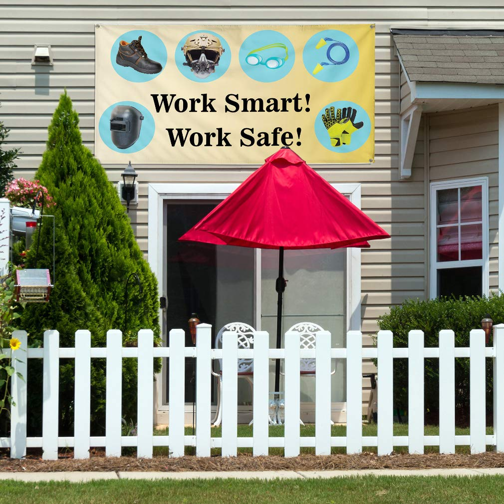 48inx96in 8 Grommets Vinyl Banner Sign Work Smart Work Safe Business Style U Outdoor Marketing Advertising One Banner Multiple Sizes Available