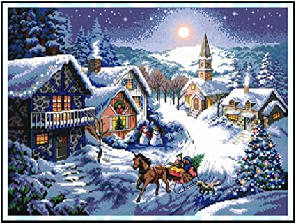 DIY Embroidery KIT Home Decor Counted Cross Stitch Blue Winter Landscape