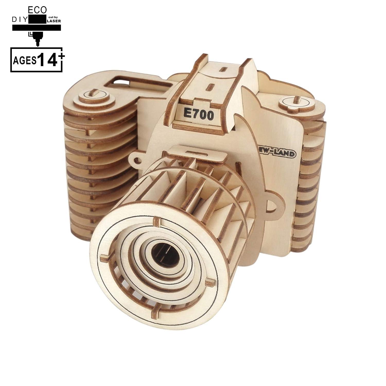YJF Rompecabezas de cámara Modelo 3D - Rompecabezas de Madera de ...