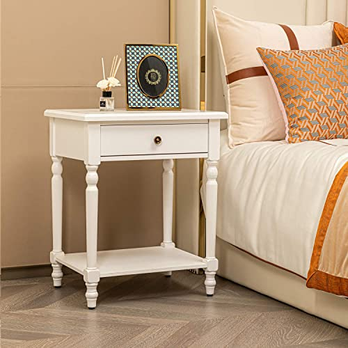 HAWOO White Nightstand,Bedside Table - a good cheap rustic end table