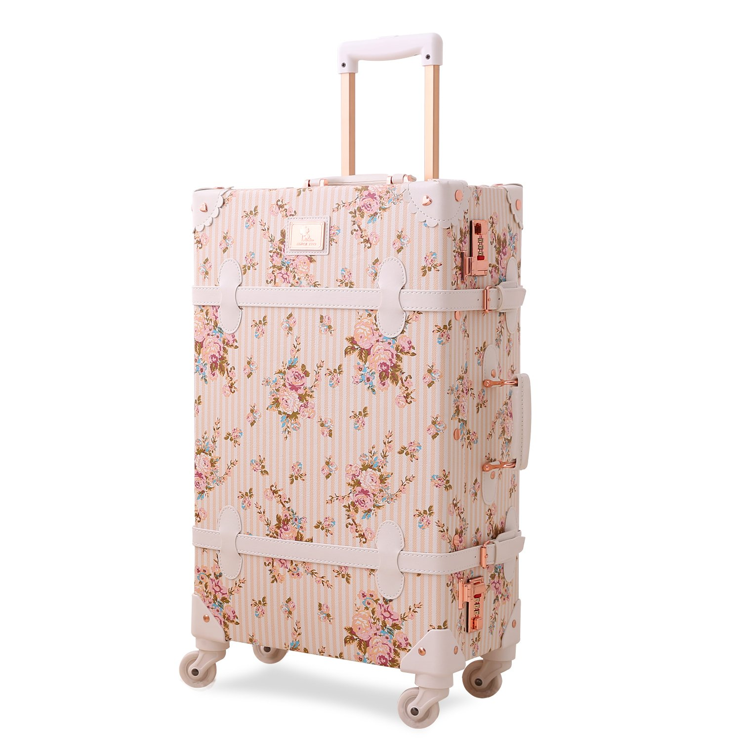 c3158f19920f Unitravel Floral Luggage PU Leather Hardside Vintage Suitcase Spinner wheels