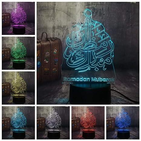 Lixiaoyuzz 3D Lámparas De Mesa Islam Bendiciendo Ramadán Mubarak ...