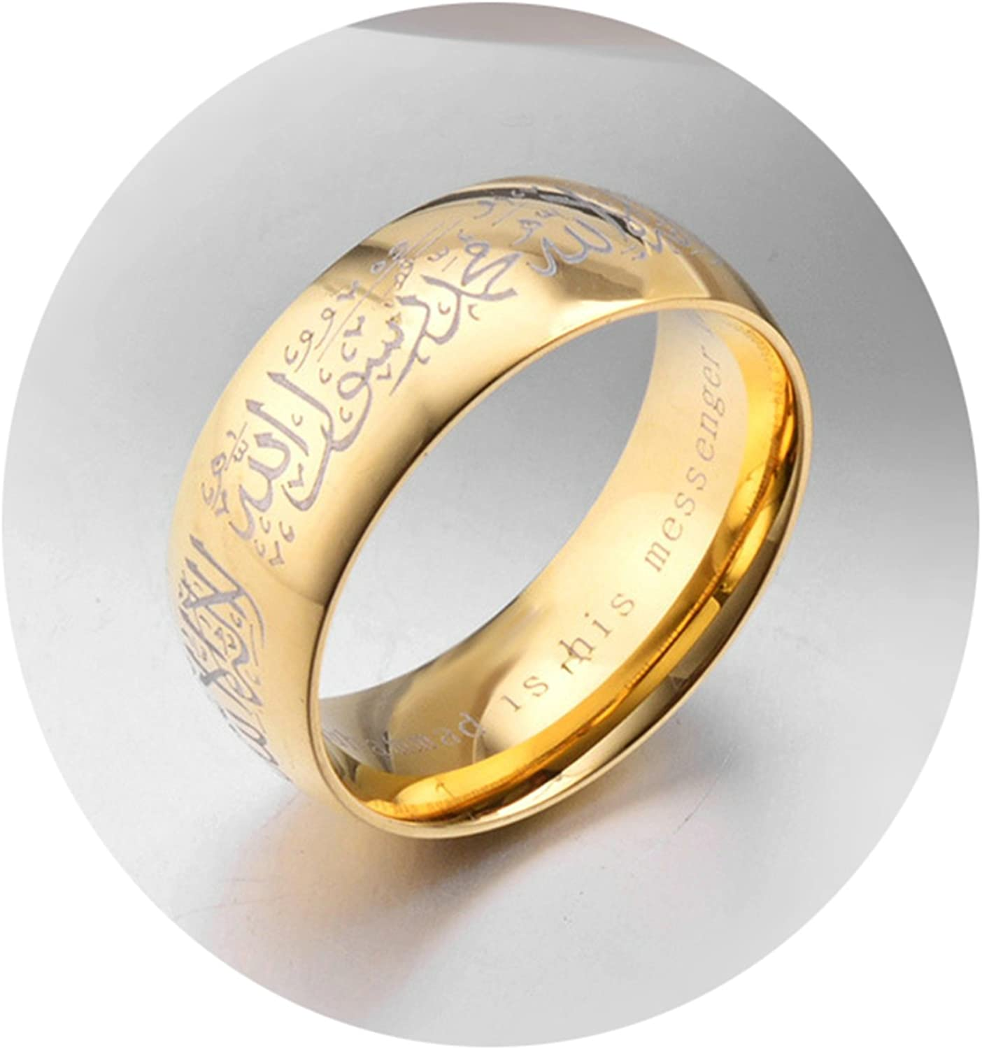 Bishilin Stainless Steel Rings Vintage Religious Retro Width 8 Mm Wedding Ring Men Gold Size 7