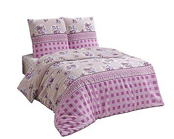 Bettwäsche 200x220 Baumwolle Bettgarnitur Mit Reißverschluss 3 Teilig L A7943