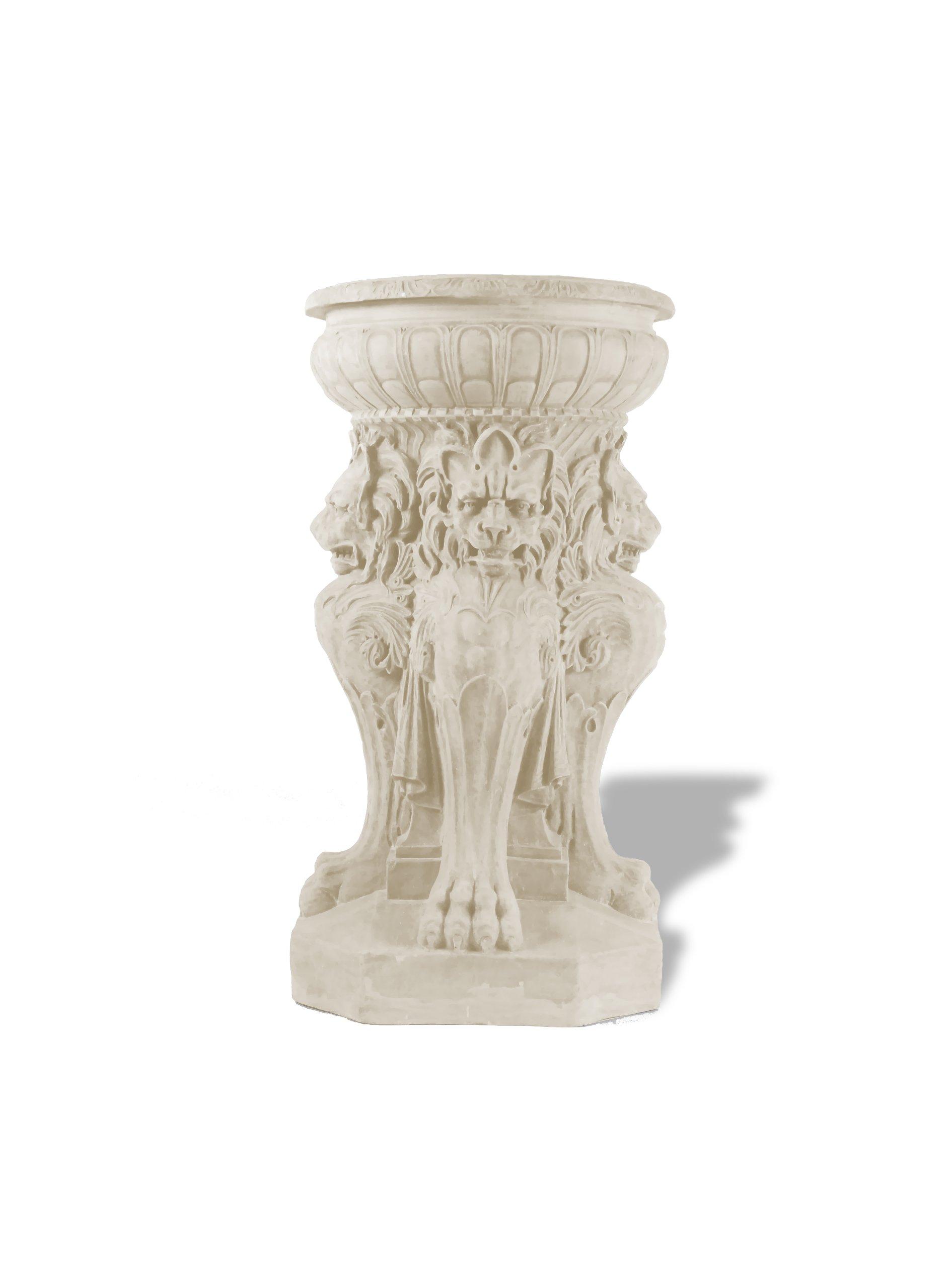 Amedeo Design ResinStone 1001-7L Victorian Lion Fountain / Urn, 18 by 18 by 36-Inch, Limestone