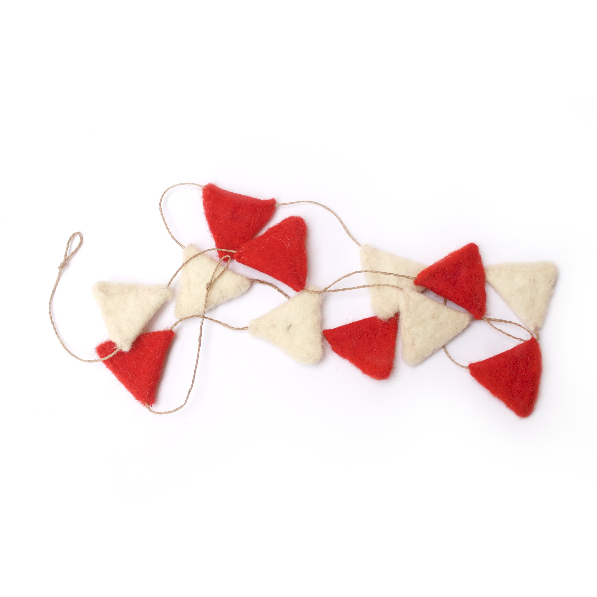 De Kulture Works Triangle Felt Christmas Garlands Set of 2 (Red and Off-White)