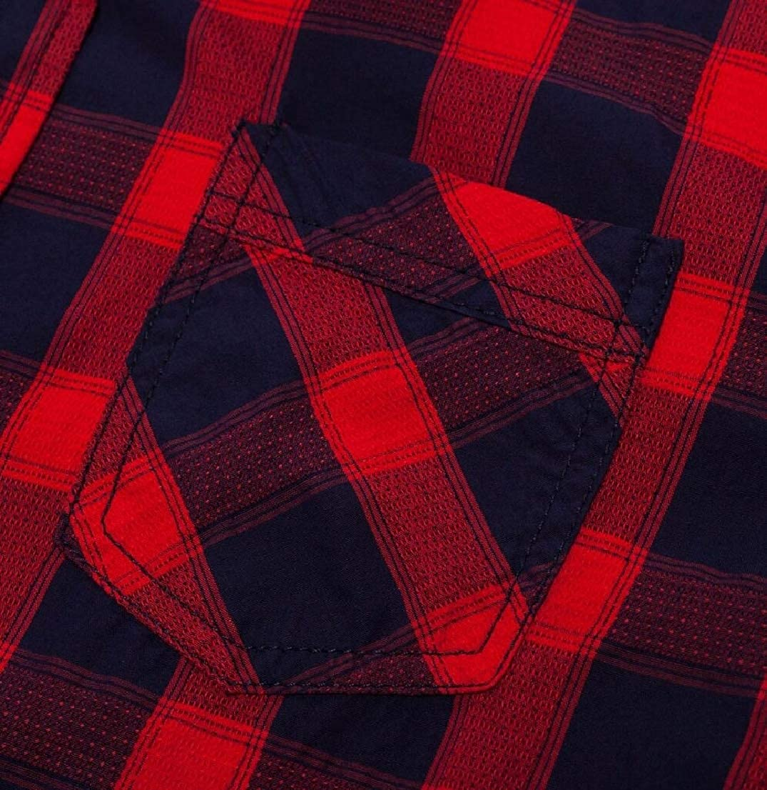 Generic Mens Flannel Plaid Slim Fit Long Sleeve Button Down Dress Shirts
