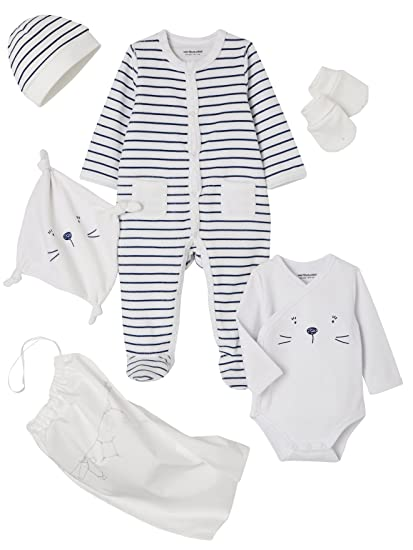 VERTBAUDET Kit para recién nacido de 5 prendas a rayas y gato con bolso BLANCO CLARO