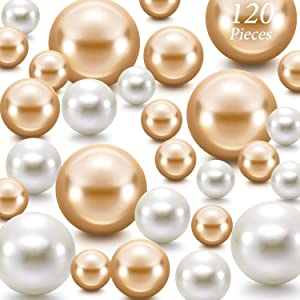 Hicarer 120 Pieces Pearl for Vase Filler Pearls Bead for Vase Makeup Beads for Brushes Holder Assorted Round Faux Pearl Beads for Home Wedding Decor, 14/20/ 30 mm (Creamy White, Gold)