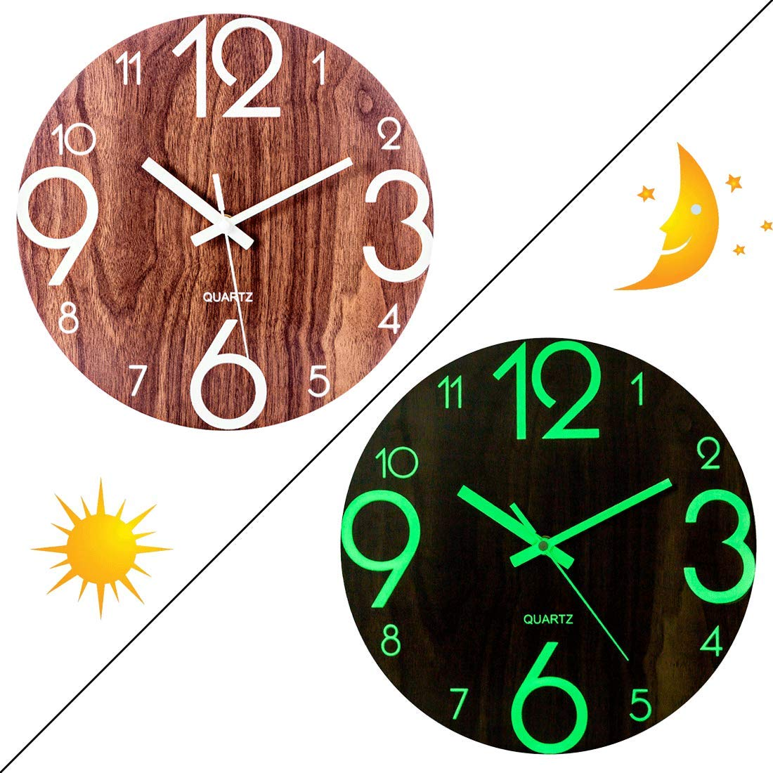 Glows in the Dark PeleusTech 12 Inch Night Wall Clock for Bedroom Modern Silent Wood Battery Operated Wall Clock
