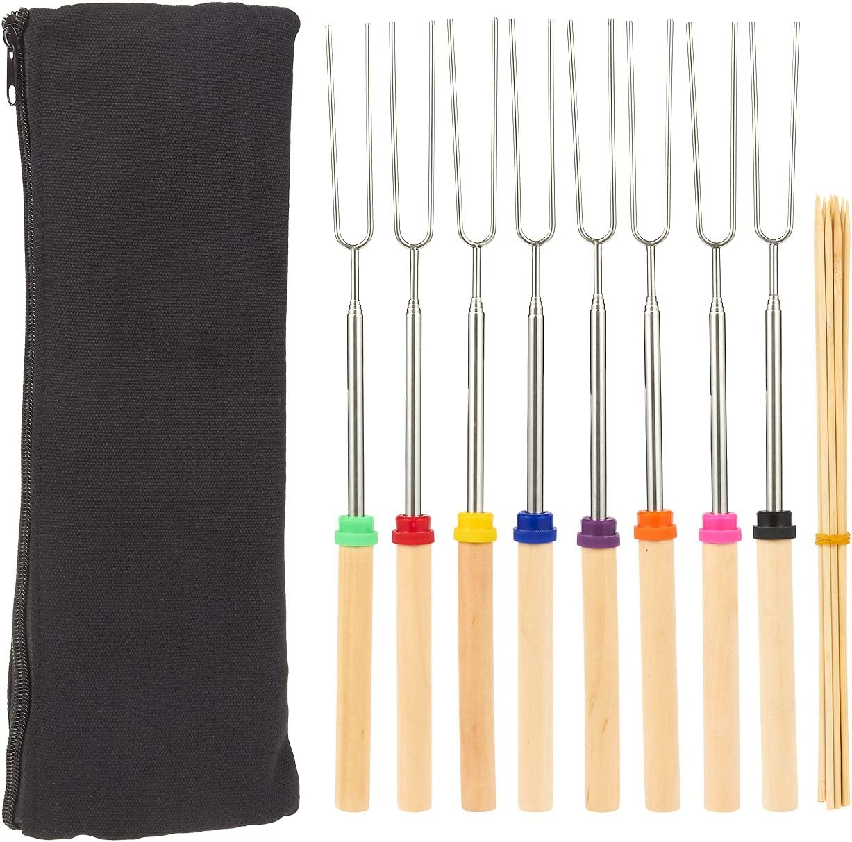 Roasting Forks for Smores Juvale Set of 8 Marshmallow Roasting Sticks 32-Inch Telescoping Stainless Steel Roasting Sticks Includes Carrying Bag and 10 Bamboo Skewers Hot Dogs