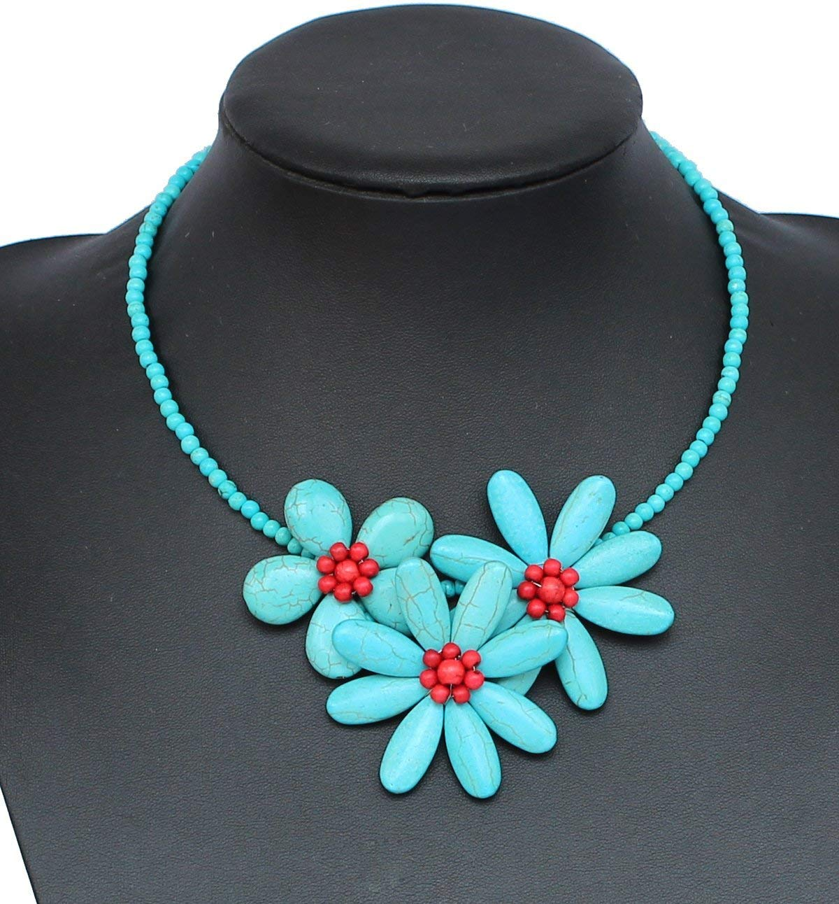 Hand-woven Turquoise beads Flower Necklace With Earrings Set Strand Statement Necklace Turquoise Necklace