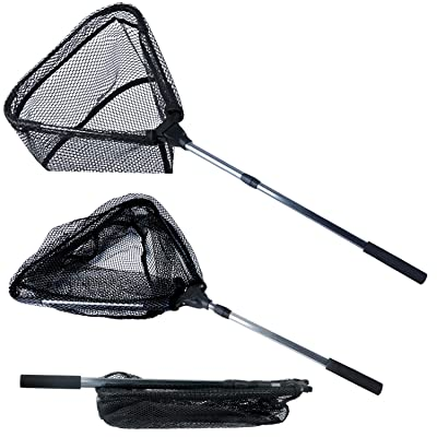 YONGZHI Fishing Net-Foldable Collapsible Telescopic Pole Handle -Durable Nylon Material Mesh-Safe Fish Catching or Releasing Triangular Fish Landing Nets