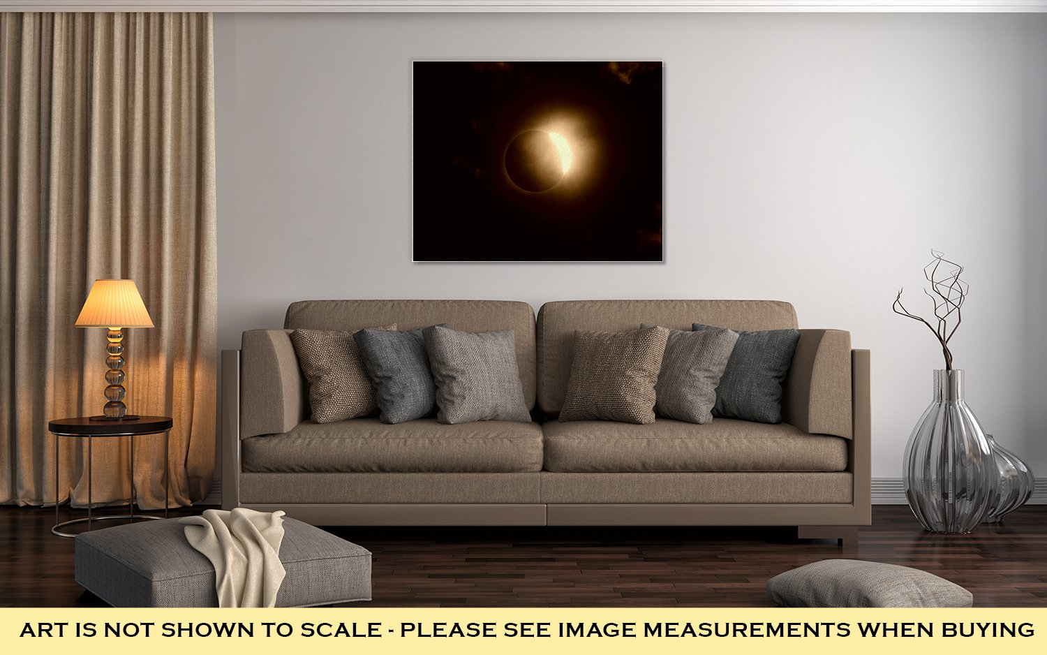 Ashley Canvas Total Solar Eclipse Diamond Ring with Clouds, Wall Art Home Decor, Ready to Hang, Sepia, 16x20, AG6464641