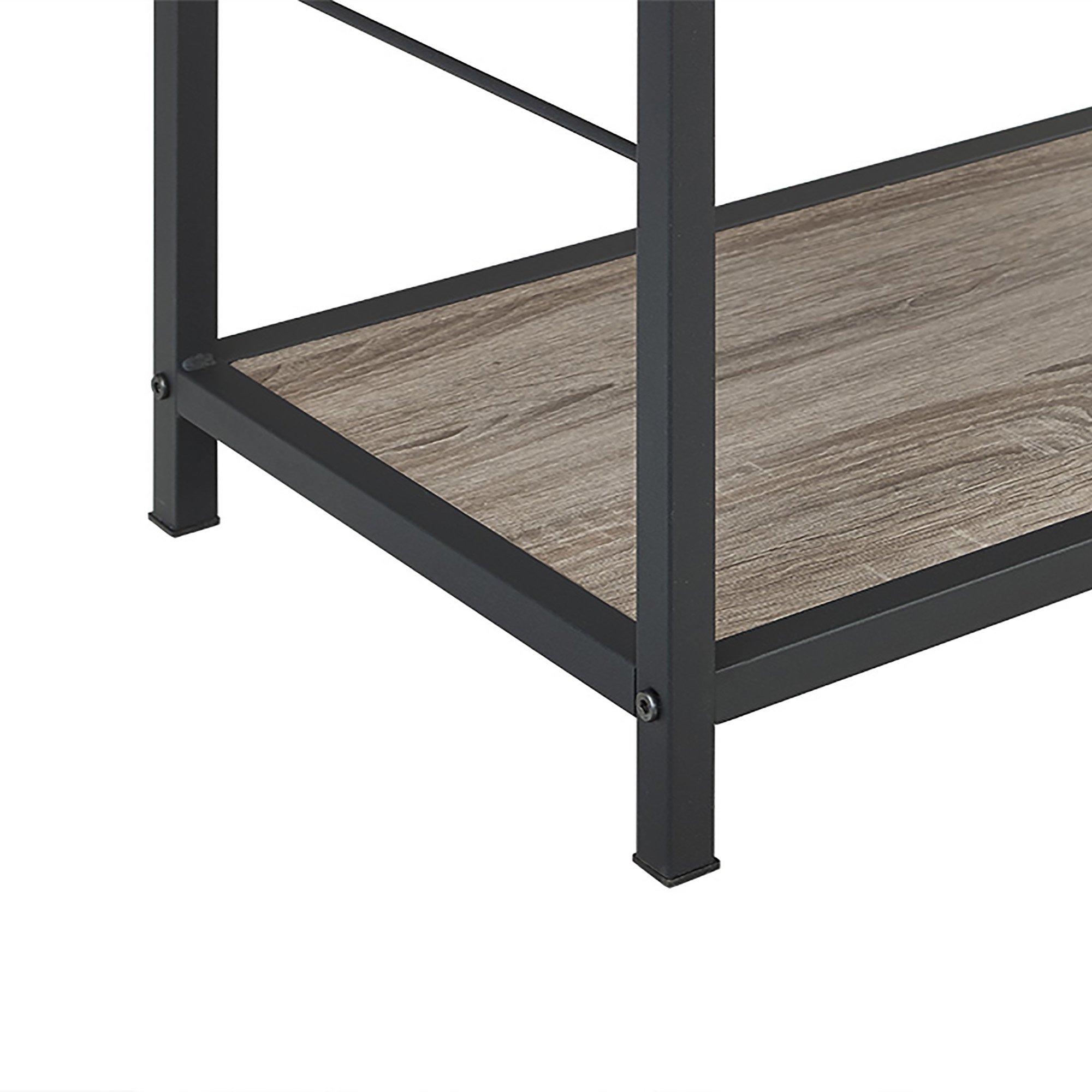 Walker Edison Furniture 63'' Rustic Metal and Wood Media Bookshelf - Driftwood