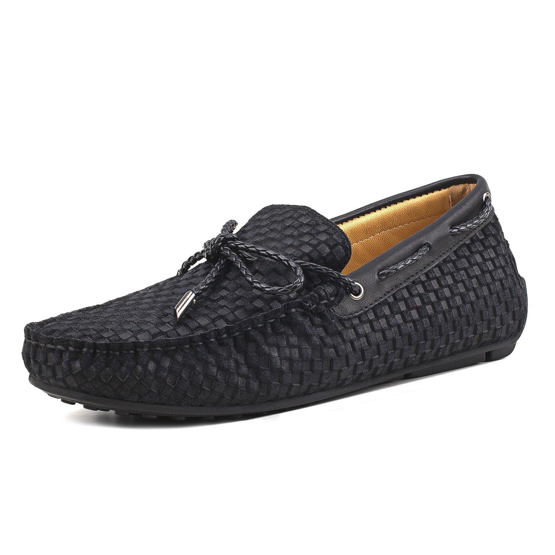Shenduo Zapatos de Cuero - Mocasines cómodos con Cordones de Moda para Hombre D7166