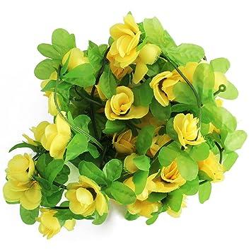 Rose Rattan Künstliche Rose Blume Rattan Hauptwanddekoration Für  Hochzeitsparty Valentinstag Zimmerdekoration Merh Färbrig (Gelb)